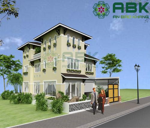 Mẫu thiết kế biệt thự 3 tầng mái Thái đẹp M05