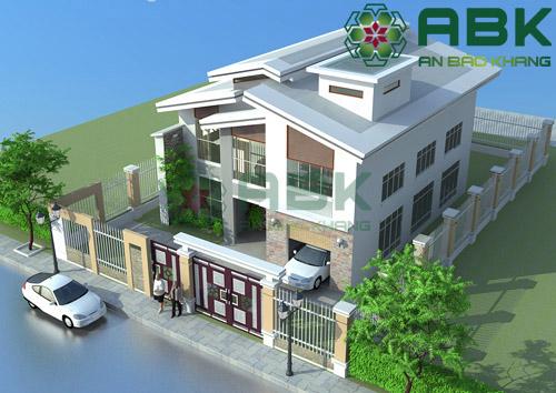 Mẫu thiết kế nhà biệt thự 2 tầng mái lệch sang trọng, phá cách M13