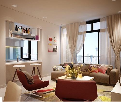 Nội thất thiết kế của chung cư có hai phòng ngủ cao cấp