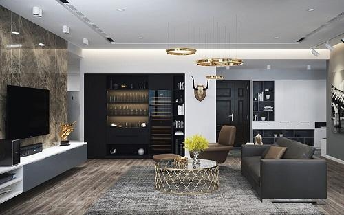 Nội thất hiện đại cho phòng khách và phòng bếp chung cư của anh Hoàng-TP HCM