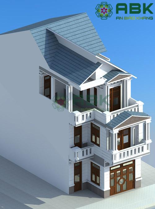 Xem qua mẫu thiết kế nhà phố 3 tầng mái lệch M06