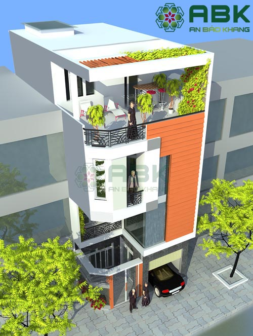 Tham khảo mẫu thiết kế nhà phố 4 tầng hiện đại M07