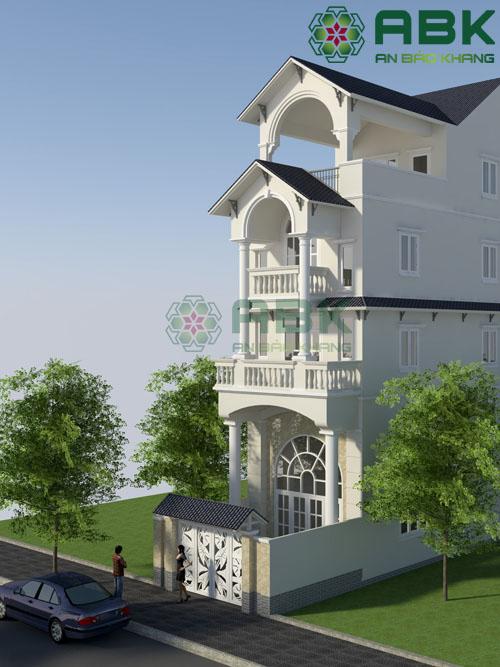 thiết kế nhà phố 3 tầng rưỡi