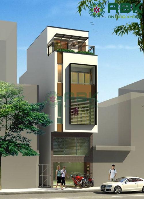 thiết kế nhà phố 4 tầng rưỡi