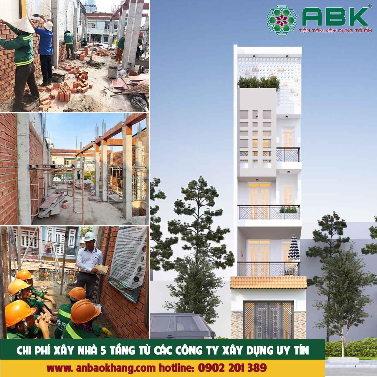 Chi phí xây nhà 5 tầng 110m2